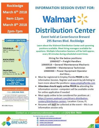 Walmart Dist Center Info Sessions