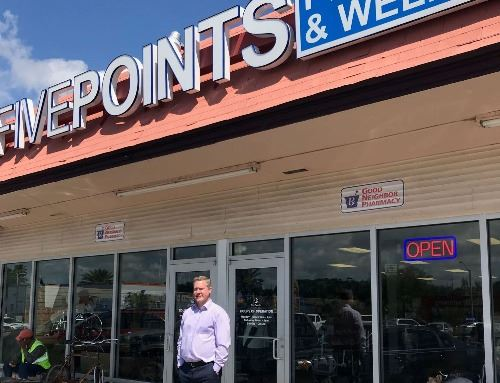 Owner James Knight standing in front of Five Points Pharmacy and Wellness